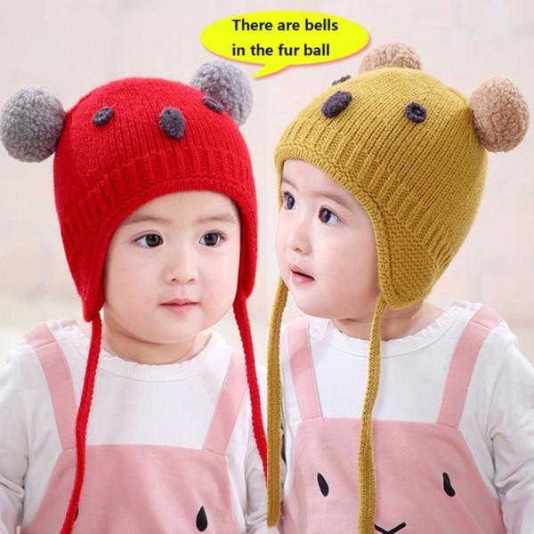 Design Chapéus de malha de lã Hemming Caps inverno recém-nascido Quente bonito Hem meninas miúdos dos meninos dos desenhos animados Braid Design Chapéus de malha de lã