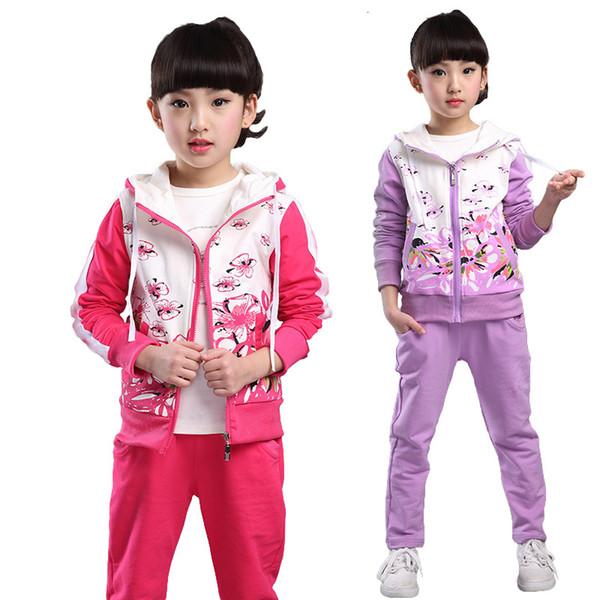 kızlar çocuklar için V-ağaç İlkbahar Sonbahar genç kızlar giyim seti fermuar spor kıyafetleri eşofman çocuklar spor takım elbise 4-12T CJ191205