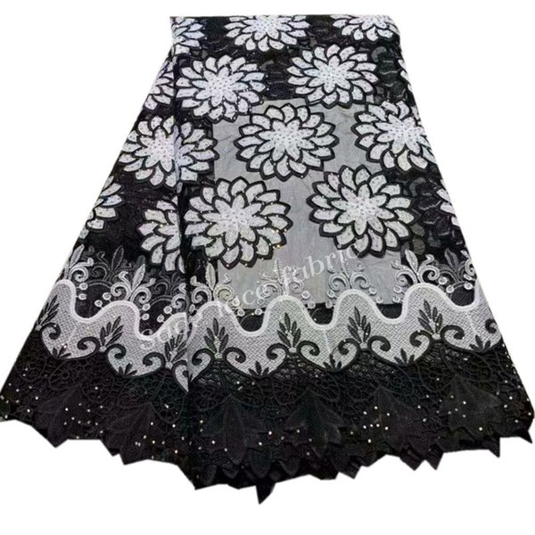 High Quality African Lace Fabric 2018 Latest French Guipure Lace White & black Color Nigerian Lace Fabric with stones QG570