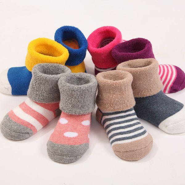 4 Pair/lot Real Woolen Kids Socks Winter Baby Boys Girls Thick Soft Warm Solid Anti Slip Socks 0-3 Years Children Socks stripe