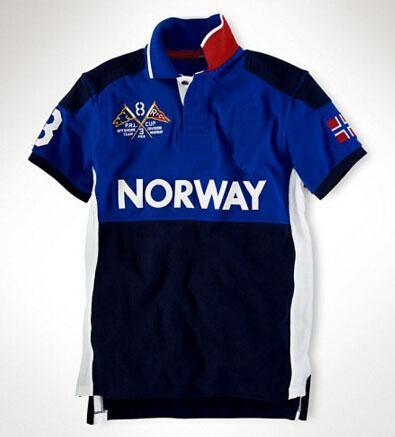Amerika Erkekler Yarış Polo Gömlek ABD Büyük Midilli Nakış Pamuk Rahat Spor Polos SUI / Norveç / Japonya / Avustralya / BAE / GER / Meksika / İspanya / Rusya / ITA