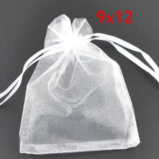 linen wholesale 100 White Drawable Organza Wedding Gift Bags&Pouches 12x9cm(W00452 X 1) bag linen bag hoodie