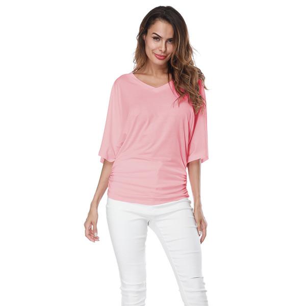 2019 explosion models fashion large size women's loose bat sleeve V-neck short-sleeved T-shirt top