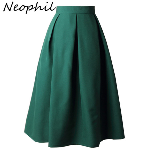Neophil 2019 Summer Ladies Black Pleated Ball Gown Skater Midi Skirts Womens Solid Plus Size Xxxl Office Wear Tutu Saias S8322 MX190731