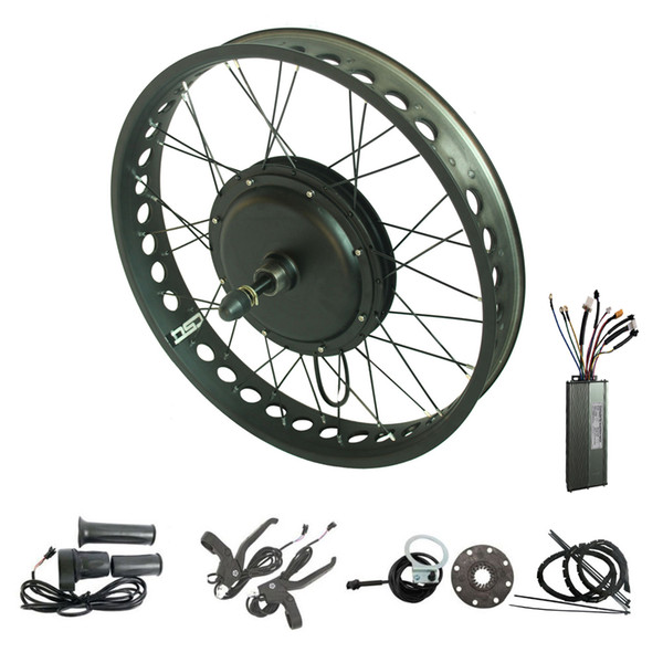 Electric bike conversion kit 48V 500W fat tire ebike snow e bicycle kit 20'' 24'' 26'' X 4.0 inch color wheels red green yellow rim