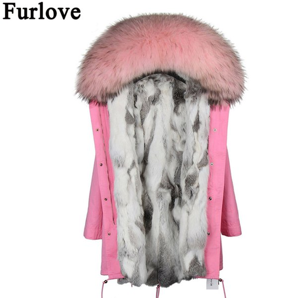 Parkas for women winter outerwear 2017 new fashion natural real rex fur lined parkas with natural raccoon fur collar