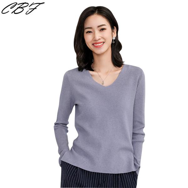 2019 Frühling Heiße Verkäufe Frauen Gestrickte Kaschmirmischung Pullover V-Kragen Volltonfarbe Lose Atmosphäre hochwertige Pullover
