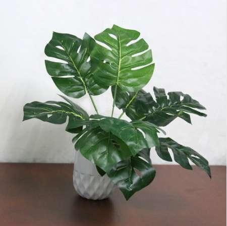 Fake Faux Artificiale 9-Leaf Pianta artificiale Monstera Branch Palm Fern Turtle Leaf per la decorazione domestica di nozze
