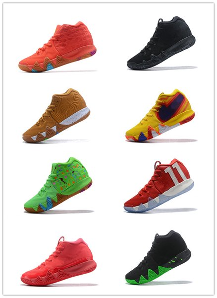2018 New Kyrie IV mens basketball shoes Black Samurai Green Lucky Charm Bread Halloween Lucky Colors Trainers BasketBall Shoes Size 40-47