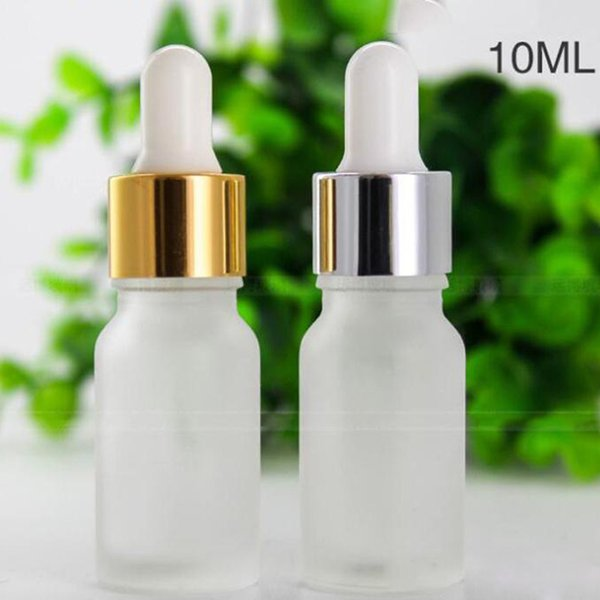 768pieces Lot Frosted Clear 10ml Glass Dropper Bottles 1/3OZ Glass Essential Oil Bottles With Gold Silver Black Cap For Cosmetics Essence