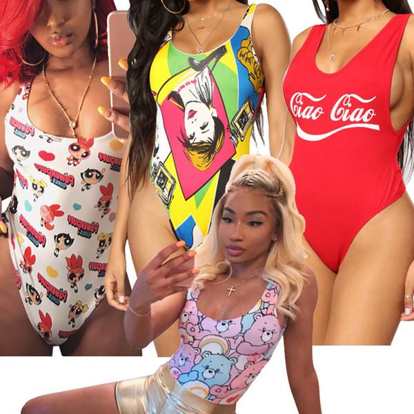 Women Printed One-piece Bikini Lady Fashion Cotton Summer Swimsuit Slim Bathing Suit Sexy Beach Wear LLA458