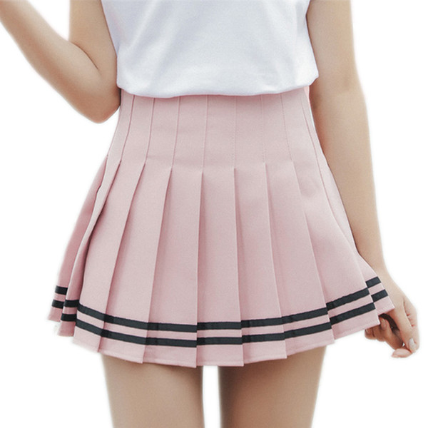 2019 Hot Mini Pleated Women Skirts Shorts High Waist White A-line Short Skirts Uniforms School Skirt Shorts For Women Saias Y19071601