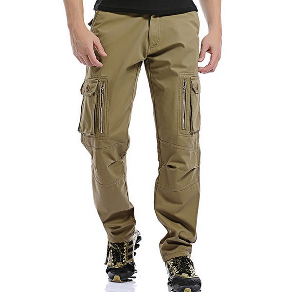 Fashion Multi-pocket Solid Winter Mens Cargo Pants Thick Warm Casual Slim Zipper Workout Men Trousers Size 28-40