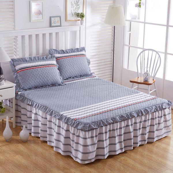 New Fashion Bedding Set 3pcs Soft Bed skirt Linen cotton bed sheets Set Pillowcase Home Textil linens sabanas