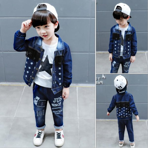 Baby Toddler Sport Clothes Suit kids Clothing Set Cotton Boy Clothes Denim Jeans Coat T-shirt Pants 3PCS Star Tracksuit Children