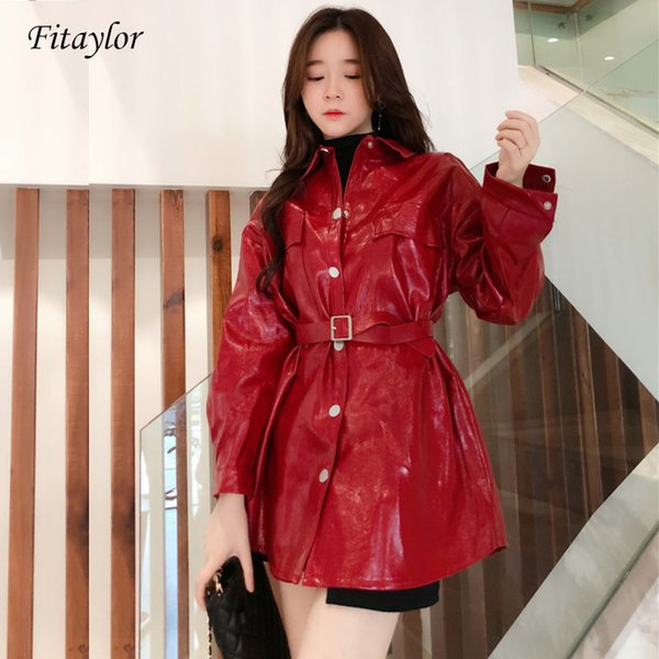 Fitaylor 2019 New Women's Retro Lapel Long Sleeve Leather Coat Spring Autumn Casual Students Bright Face PU Leather Jackets