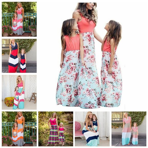 Parent-child Sleeveless Long Dress 24 Styles Mother Daughter Striped Floral Beach Maxi Dresses Vest Patchwork Dress Matching Outfits OOA6656