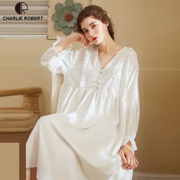 Noble Sleepwear Cotton Dress Gown Elegant Nightgown Vintage Long Dress Long Sleeve White Night Dress Home Clothes For Women Y19071901