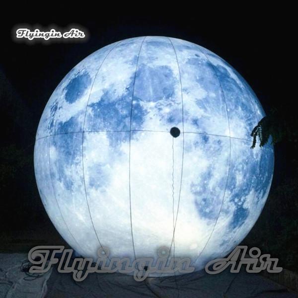Personifizierter beleuchtender aufblasbarer Mond fertigte enormen Ball-hängenden / Grundplaneten-Ballon des vollen Druckens für Feiertags-und Partei-Dekoration besonders an