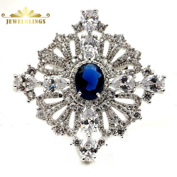Kraliyet Vintage Döngü Şerit Oval Kesim Mavi Taş Art Deco Broş Gümüş Ton Açar Mikro Açacağı Temizle CZ Kare Pins Prenses takı