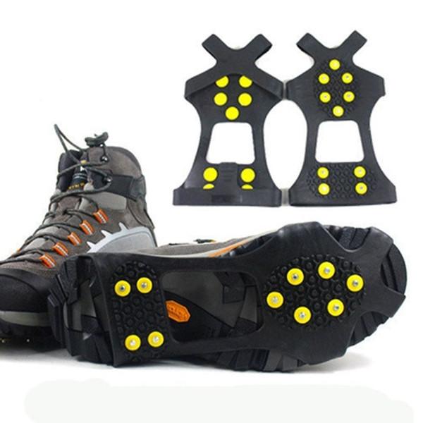 Kaymaz Ayakkabılığın Üstü Kar Buz Cleats Sapları Kaymaz Çivili Buz Çekme Pabuçları Spike Kramponları Cleats Boyutlarını S / M / L / XL