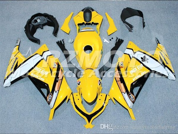 3 presentes Grátis Nova Injeção ABS Motocicleta Carenagem kit Para KAWASAKI Ninja300 EX300 2013 2014 2015 Carenagem Conjunto de carroçaria preto Amarelo h4