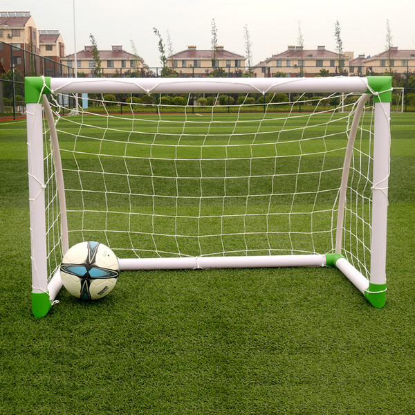 120 x 80 x 60cm Soccer Goal Training Set with Net Buckles Ground Nail Football Sports White & Green