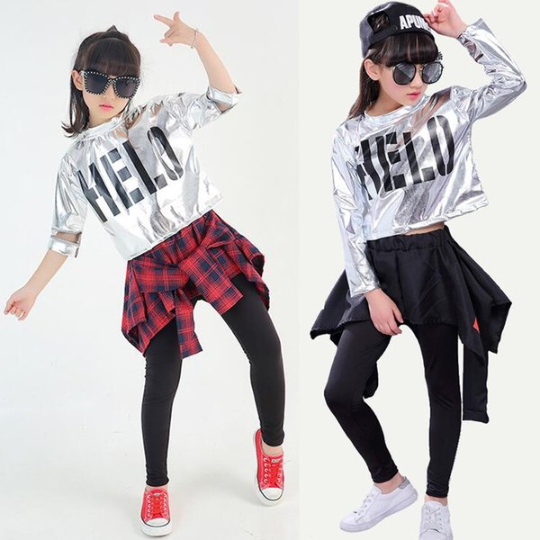 Mädchen Ballsaal Modern Jazz Hip Hop Dance Wettbewerb Kostüm Set für Kinder T Shirt Tops Hosenrock Tanzen Bühne Kleidung Outfits