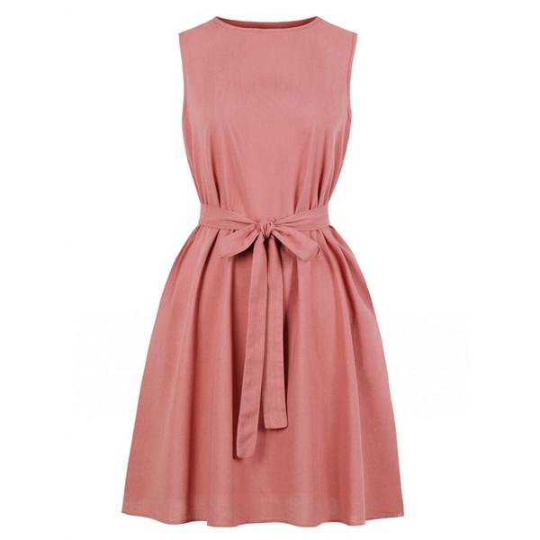 7657412053810 Hot Sale Vintage Women Dress Solid Color Sleeveless Belt A Line Dress Women  Spring Summer Party Dresses Casual Vestidos Dress Evening Long Maxi Summer  ...