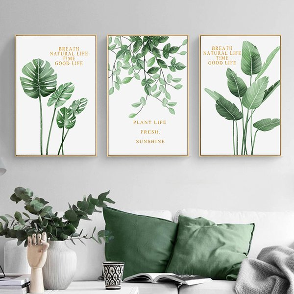 2019 Green Plant Home Decoration Wall Art Canvas Painting Monstera Leaf Nordic Posters And Prints Wall Pictures For Living Room Decor From Lantor