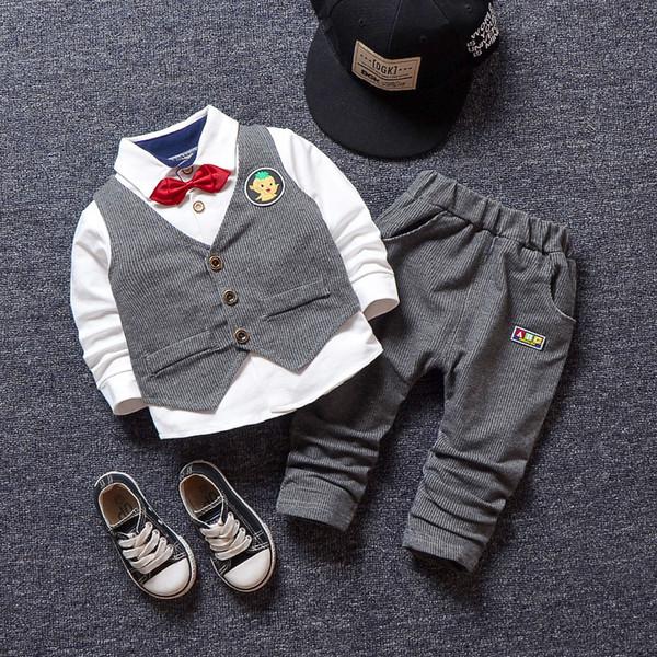 Conjuntos de Roupas meninos Primavera Outono Moda Infantil Senhores Do Partido casamento 3 pcs Vest + Camisa + Calças Para Meninos Crianças Roupas de Aniversário