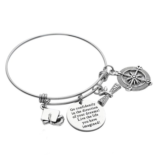 Go Confidently In The Direction Stainless Steel Graduate Pendant Bangle Compass Family Friend Bracelet Inspiration Charm Gifts