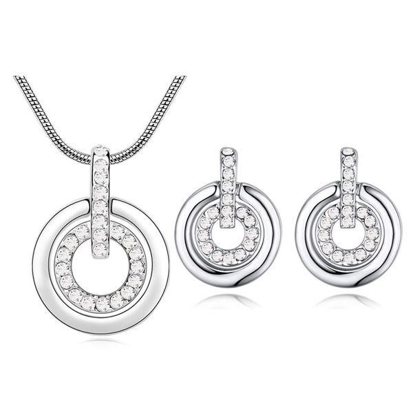 Cristales de alta calidad de Swarovski Conjuntos de joyas Moda Doble círculo Colgante Collar Pendientes Conjuntos para mujeres Accesorios de boda