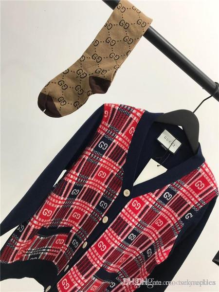 19ss lüks marka kırmızı siyah çizgili örme hırka ceket Lady Kadınlar breatheable Moda Streetwear Tişörtü Açık T-shirt