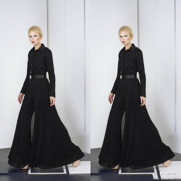 Tony Ward 2019 Jumpsuits Arabic Evening Dresses Black Pantsuit Plus Size Chiffon Prom Gowns Beads Long Sleeve Formal Party Dress