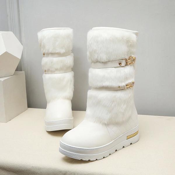 Promoción de Gran Tamaño 34-43 Mujeres Botas de Invierno Moda Cuñas Ocultas Calientes Zapatos de Piel Mujer Plataforma Med-becerro Botas de Nieve N164
