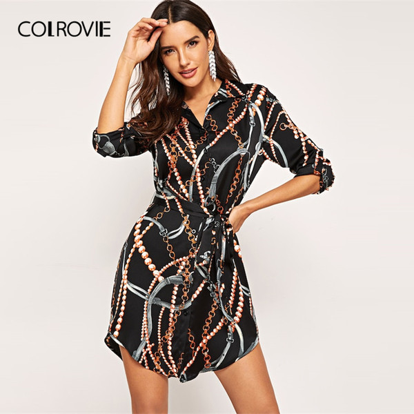 Colrovie Black Curved Belted Collar Elegant Satin Shirt Dress Women 2019 Spring Long Sleeve Short Dress Office Ladies Dresses J190529