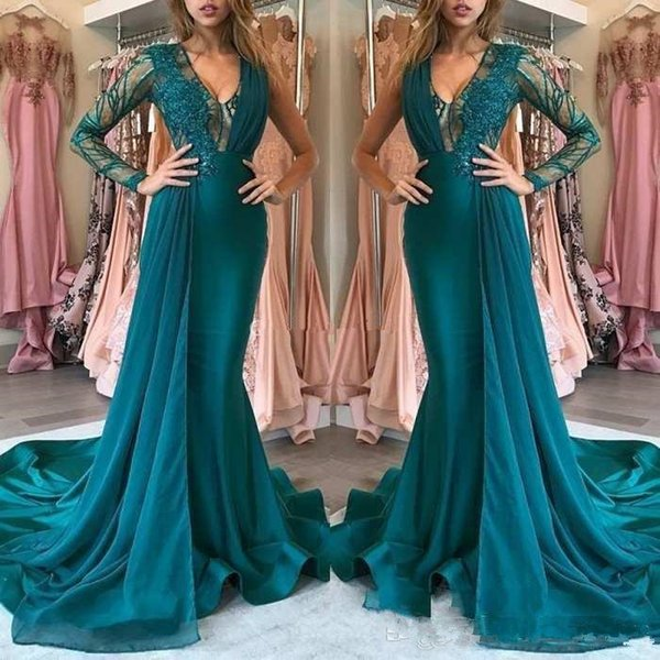 Design Teal Prom Dresses 2019 Long Sleeves Appliques Lace Mermaid Sweep Train Arabic Formal Evening Party Special Occasion Gowns