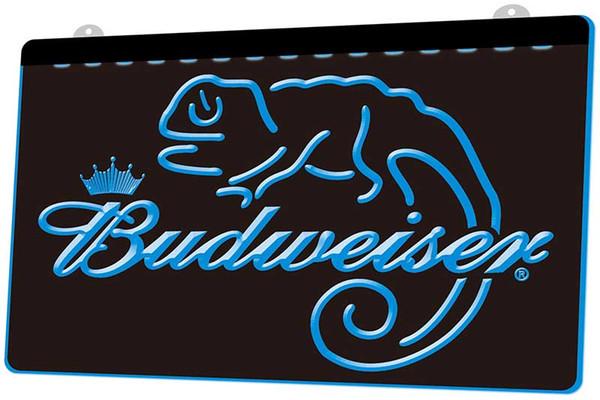LS0097 Budweiser Frank Lizard Beer Bar RGB Multiple Color Remote Control 3D Engraving LED Neon Light Sign Shop Bar Pub Club