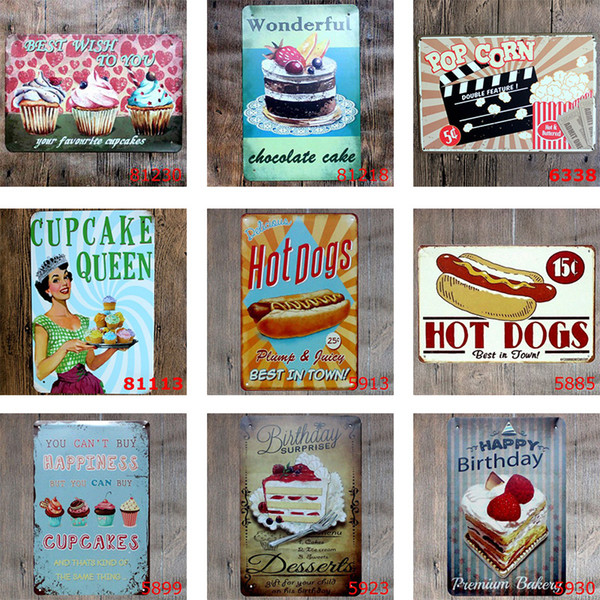 40 DesigVintage Retro Blechschild Poster Cupcake Eis Hamburger Lebensmittel Plaque Club Wall Home Kunst Metall Malerei Wand-Dekor 20 * 30cm frei