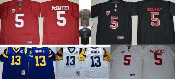 Stanford Cardinal #5 Christian McCaffrey 22 College Mens Vintage 16 Jared Goff Los Angeles 13 Kurt Warner Stitched American Football Jerseys