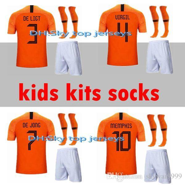 best selling kids + socks Netherlands 19 20 Soccer Jerseys DE JONG 2019 2020 Holland VIRGIL Football kits DE LIGT VAN DIJK jersey MEMPHIS PROMES Shirt