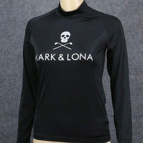 Maglietta da allenamento da donna Mark / Lona Golf Skull Sport all'aria aperta Maglietta da golf ML ML manica lunga a prova di sole a rapida asciugatura