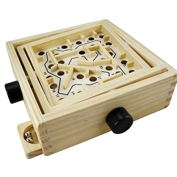 Wood Balance Game Toy Parent-child Table Wood working Ball In Maze Handcrafted Toy With Rotate ball wooden toys for kids gift
