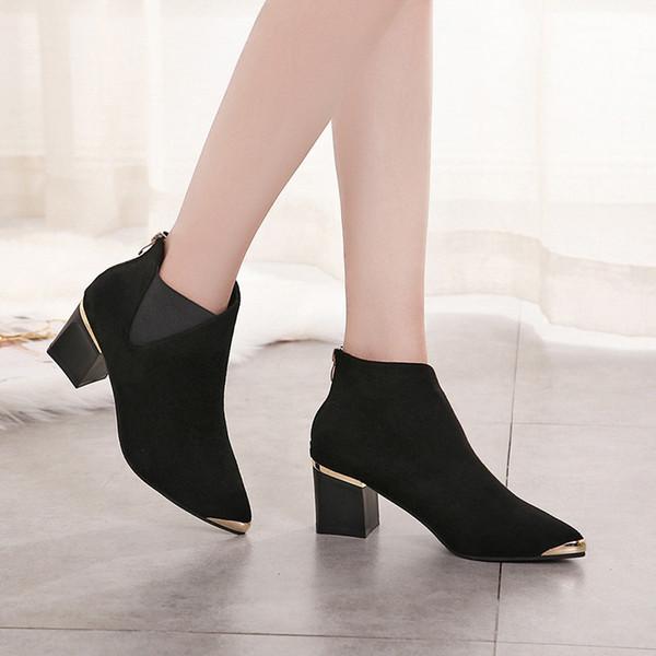 2018 outono e inverno novo couro fosco áspero com Martin botas moda botas curtas botas femininas hjm8