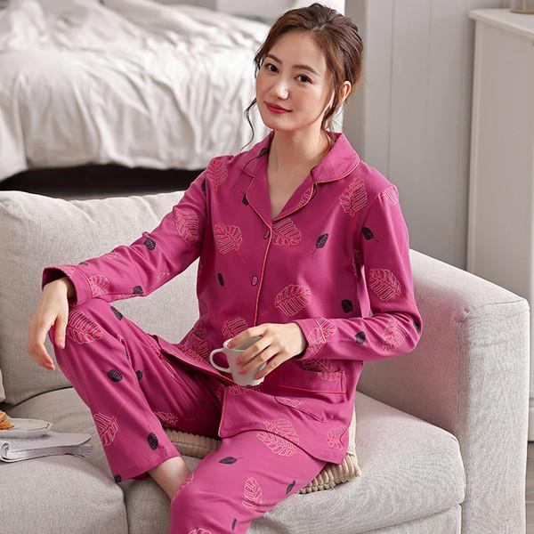 Sonbahar Uyku Salonu Pijama Uzun Kollu Üst + Uzun Pantolon Kadın Pijama Set Pijama Pamuklu Pijama Kadınlar Için M-XXXL