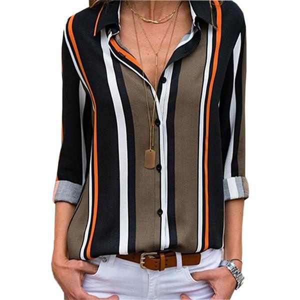 Frauen Bluse Lässig Cuffed Long Sleeve V-Ausschnitt Button Up Striped Sommer Neuheit Frauen Bluse Tops Dropshipping DK751MZ