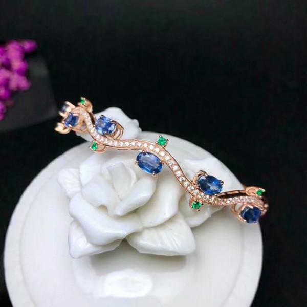 shilovem 925 Silber Sterling natürliche Saphir Manschette Armbänder feinen Schmuck trendy neue Geschenk Frauen Partei yhsz040699agl