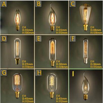 Vintage Retro E14 Edison Spiral Incandescent Light Bulb Filament Bulb For Pendant Lamps Living Room Bedroom 220V Novelty Fixture