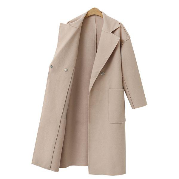 Wollmantel der neuen Art und Weiseblazerfrauen 2019 beiläufiges Kleid Wollmantel elegante Bürodamen lange Ärmel im langen Abschnitt S-XL